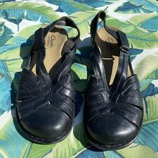 Size 7.5 CLARKS Bendables Womans Black Fishermans Leather Comfort Sandals Shoes