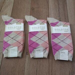 GOLDTOE Women's Argyle Fashion Socks 3 Pair Shoe Size 6-9