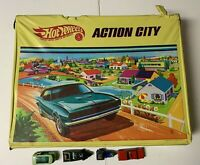 "Vintage Hot Wheels Action City Playset 1968 ""REDLINES""  #5158 w/4 Cars"