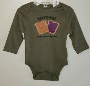 NEW Old Navy Baby Boys 0-3 / 3-6 MONTHS Long Sleeve Bodysuit BROTHERS #10420