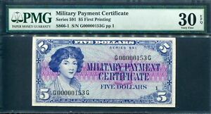 USA 1961, Military Series 591, $ 5, S/N: 153, S866,PMG 30 EPQ Extremely Rare