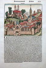 ITALIEN NEAPEL NEAPOLIS NAPLES ANSICHT BLATT WELT CHRONIK SCHEDEL STAMMBAUM 1493
