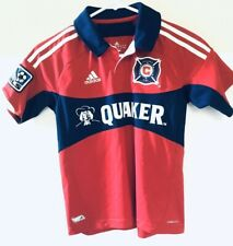 Chicago Fire MLS Adidas Climacool Quaker Soccer Futbol Polo Jersey Child Size S