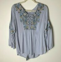 Solitaire Women's Top Size Medium Tassel Ties Floral Embroidered Boho Festival