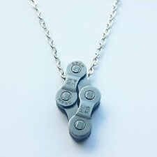 Chain Necklace Lovely Gift for a Cyclist Diamond Bicycle Chain Charm on a Silver