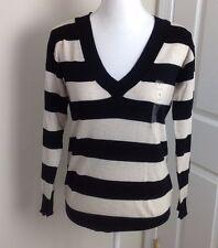 Gap Womens Sweater V Neck Striped Black Ivory Cotton Cashmere Size Small