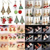 Fashion Women Christmas Earrings Enamel Crystal Drop Dangle Ear Stud Ear Hook