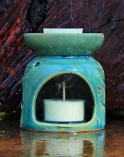 JADE TEAL LEAF Oil Burner / Melter HANDMADE CERAMIC CANDLE HOLDER Christmas Gift