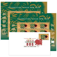 USPS New Lunar New Year Dog Keepsake 2 panes and Digital Color Postmark