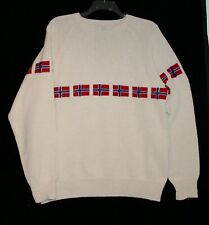 Men's XL NEW handmade pullover sweater off-white w Norwegian flags, heavy cotton