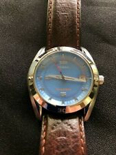 FOSSIL BLUE MENS WATCH AM4050 DATE ORIGINAL FOSSIL LEATHER BAND VERY LOW USE