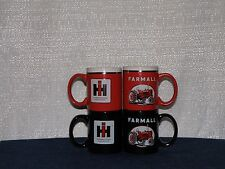 INTERNATIONAL FARMALL IH TRACTOR COFFEE CUPS NEW (SET OF 4 pc ) -- BLACK/RED