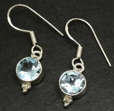 Blue Topaz Round Drop Earrings Solid Sterling Silver, New, Actual Ones. 7mm.
