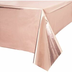 Rose Gold Plastic Tablecloth for Pink Birthday Party (54 x 108 in, 3 Pack)
