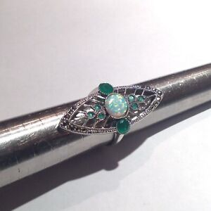Art Deco Emerald and Fire opal Cocktail Statement Ring Sterling Silver Size P S