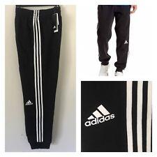 Men's Adidas Slim 3 Stripe Sweat Athletic Jogger Pants  Black/White Size L New