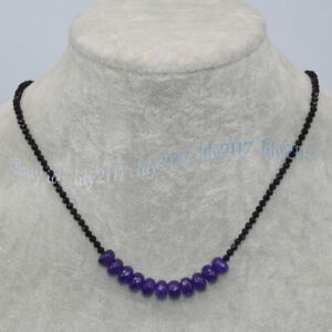 Faceted 3mm Black Spinel 5x8mm Purple Amethyst Rondelle Gems Beads Necklace 18''