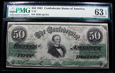 1861 $50 Confederate Note T-16 Pmg 63 Epq - Very Scarce In This Grade