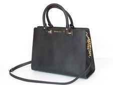 Michael Kors Quinn Saffiano Black Leather Large Satchel Handbag