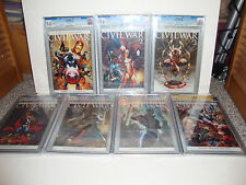 Civil War 1,2,3,4,5,6, 7 Variant CGC SS 9.8 signed by Stan Lee,Vines,Mcniven Set