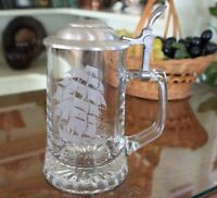 CUI Frosted Nautical Old Spice Lidded Clear Glass Stein
