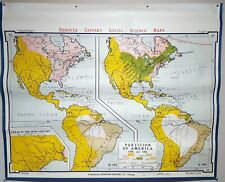 "Denoyer-Geppert Partition of America 1700-1763 School Wall Map 44x36"" A6 1963"