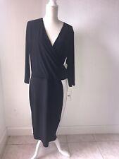Lauren Ralph Lauren Dress Womens Size 20 Stretch  3/4 Sleeve Ruched Black/White