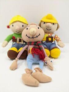 "Original Bob The Builder Character Beanie Plush Bob, Wendy, Spud 8"" Bundle VGC"