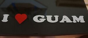 I LOVE GUAM heart vinyl window sticker decal bumper Hafa Adai Chamorro red usa