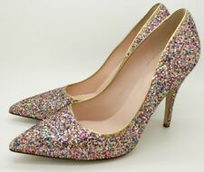 Kate Spade NY Licorice Too Heels Pump Shoes Old Gold Metallic Glitters 5.5 M NIB