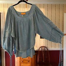 Free People FP Heirloom Sea Opal size L blue linen blouse high low top tassels