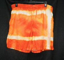 NAUTICA Orange/Yellow Tie-Dyed Print Mesh Lined Swimsuit Trunks Shorts Mens sz L