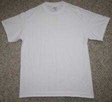 Medium Port & Company White Cotton Solid Tee T-Shirt Mens Man's Top Short Sleeve