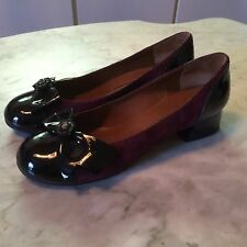 Marc Jacobs women suede patent leather ballerina loafers flats shoes sz 38.5