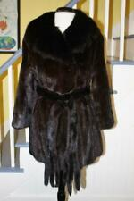 LUXURY! Top Quality RANCH MINK Fur Coat With Fur Belt REAL SABLE Fur Collar M/L