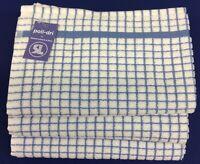 Samuel Lamont Poli-Dri Kitchen/Tea Towels White/Cornflwr 3 Piece Set 100% Cotton