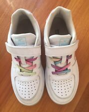 DR. KONG Girls White w.Iridescent Accents Shoelace Tennis Walking Shoes Sz 35