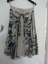 70s Style Beige & Grey Silk & Cotton Long Devernois Skirt in Size 10 - W30