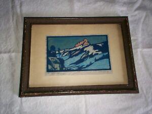 William Seltzer Rice   Woodblock Print  c. 1920s  Original matte and frame! RARE