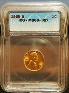 Lincoln Wheat Cent 1955-D - MS66+RD