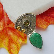 Mohave Türkis & Peridot, modern elegant, grün, Anhänger, 925 Sterling Silber neu