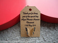 10 Kraft Brown Gift Tags SMALL Personalised BUTTERFLY Wedding Christening Favour