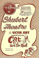 """Tennessee Williams """"CAT ON A HOT TIN ROOF"""" Victor Jory 1957 New Haven Playbill"""