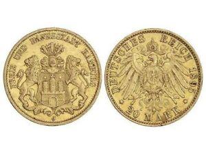 *** 20 Mark Gold, Kaiserreich, Hamburg 1895 J, Jaeger 212, TOP ***