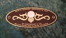 GRILLE / CAR BADGE - WILLYS OVERLAND CLUB OF VICTORIA 30TH ANNIVERSARY 2010