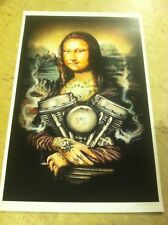 Vintage Harley Panhead Mona Lisa Motorcycle Advertisement Poster Home Decor