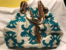 Lucky Brand Teal Aztec Print Tote Large Boho Hobo Slouch Purse Brown Fringe VGUC