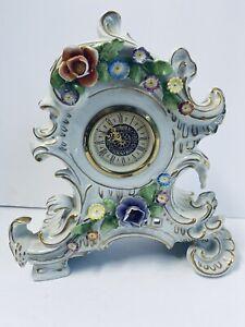 Volkstedt Dresden Germany Schierholz Plaue Clock Flowers Porcelain