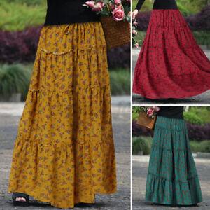 ZANZEA 8-24 Women Elastic High Waist Skirt Tiered A-Line Skirt Maxi Floral Dress