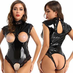 Sexy Womens Wet Look Leather Open Breast Catsuit Clubwear Leotard Bodysuit XL